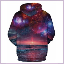 Sunset Beach Red Painted Universe Long Sleeve Cotton Pullover Hoodie Sweatshirt image 2