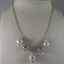 .925 SILVER RHODIUM NECKLACE WITH BAROQUE WHITE PEARLS AND SILVER PENDANT image 1