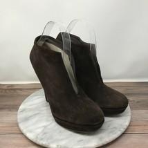 Via Spiga Womens Size 8.5 Brown Suede Leather V-Cut Split Platform Ankle... - $39.95