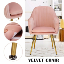 European Style Gentle Pink Velvet Cushion Gold Legs Dining Chairs Backre... - $124.53+