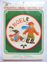 NOEL Boys Sledding in Christmas Snow NEW Counted Cross Stitch Kit 7 inch... - $16.99