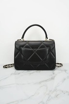 AUTH NEW CHANEL BLACK DIAMOND QUILTED LAMBSKIN TRENDY CC HANDLE FLAP BAG  image 4