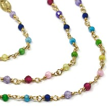 """18K YELLOW GOLD NECKLACE, MULTI COLOR FACETED CUBIC ZIRCONIA, CHAIN, 17"""" image 2"""