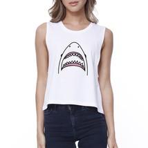 Shark Womens White Lightweight Cotton Cropped Top Cute Summer Top - $14.99