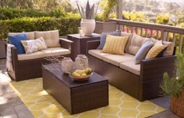 Deep Seating Set Patio Table Balcony Loveseat Deck Outdoor Sofa Garden F... - $989.99