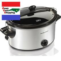 6 Quart Slow Cooker Portable Crock Pot dishwasher-safe stoneware Stainless - $59.12