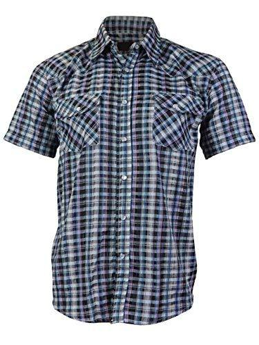 LW Men's Western Cowboy Pearl Snap Short Sleeve Rodeo Dress Shirt LW126S (Small,