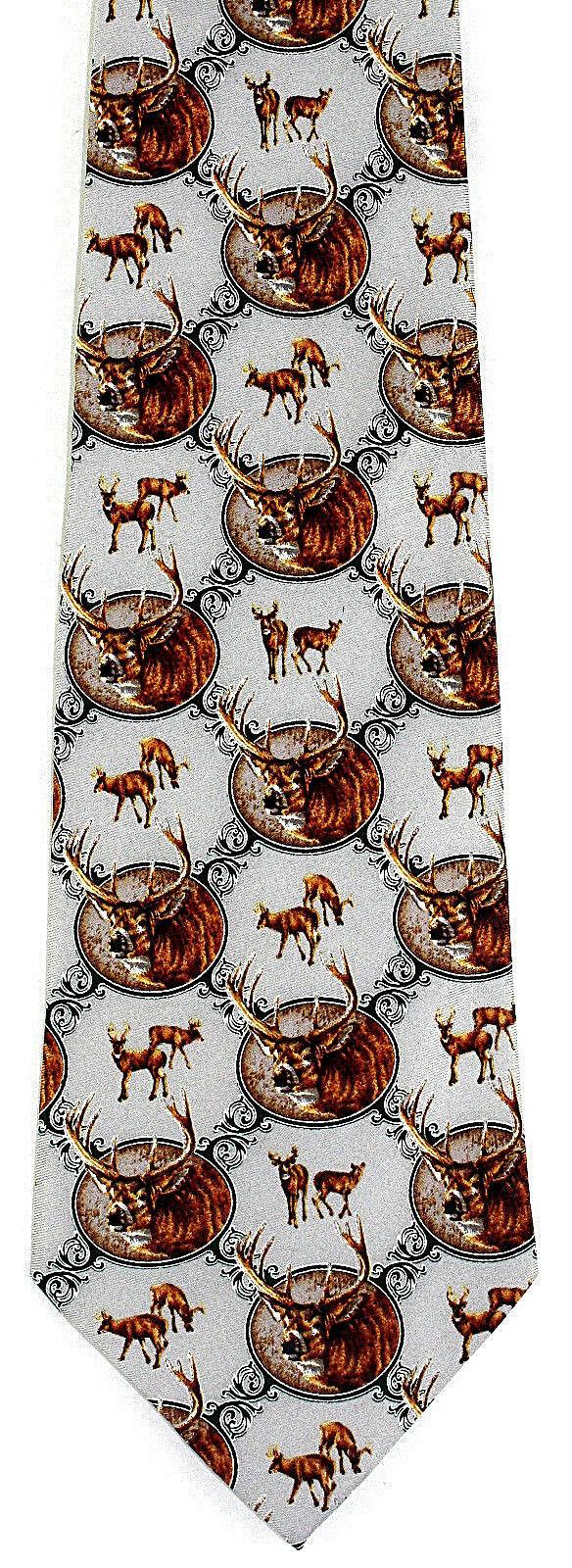 8 Point Buck Men's Neck Tie Deer Hunting Jon Q Wright Animal Silk Gray Necktie image 2