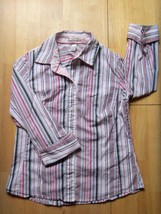 Womens OLD NAVY Pink Striped DRESS SHIRT Stretch MEDIUM - $4.50