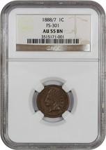 1888/7 1c NGC AU55 BN (FS-301) Rare Overdate - Indian Cent - Rare Overdate - $12,319.00