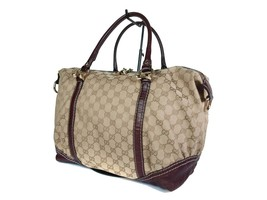Authentic GUCCI GG Pattern Canvas Leather Browns Shoulder Bag GS1823 - $298.00