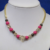 Charter Club Necklace Faceted Round Beads Pink Rhinestone Gold Tone Snak... - $17.81