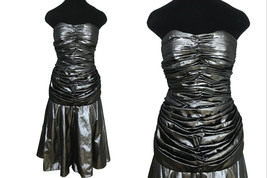 80s Etienne Brunel Paris Silver Metallic Lame Strapless Ruched Swing Party Dress image 2