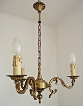 Vintage French Bronze 3 Arm Chandelier With Scrolled Acanthus Leaf Arms... - $100.87