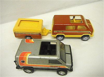 Vintage Tonka USA Pressed Steel Retro Conversion Van X2 Camper Camping Chevy
