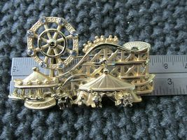 AJC Signed Gold Tone Vintage 80's Brooch 3-D Amusement Park Circus Carn... - $19.95