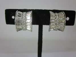 Nolan Miller Glamour Collection Explosive Hoops Baguette Clip On Earrings - $24.74