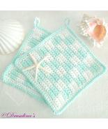 2 Crochet Pot Holders Checkered Cotton Kitchen Beach Glass Green White G... - $16.99