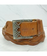 Abercrombie & Fitch Black Braided Woven Genuine Leather Heart Belt Size ... - $24.18