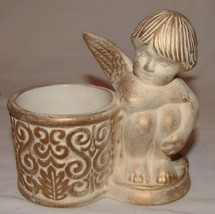 Partylite Reverie Votive Holder NIB Angel Cherub Brushed Gold Candle - $8.53