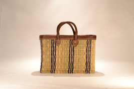 Hand woven market basket. Medium. Purple/Natural Wide Stripe.  - $46.00