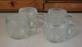 Set Of 4 Vintage Nestle Nescafe Frosted Glass World Globe Cup Mugs 8oz - $19.79