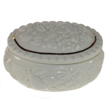 Lenox Oval Box with Lid  - Fruits of Life Embossed with Gold Trim 1998 - $12.16