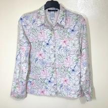 Linen Blend Floral Hawaiian Button Up Shirt Womens Plus Size 16 Summer V... - $39.59