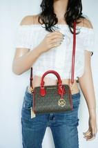 Michael Kors Giftable Bedford MINI PVC Leather Crossbody Bag MK Brown Sc... - $84.14