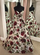 Women's Cheap Floral Print Long Strapless Prom Dresses A Line Formal Party Gowns - $122.54