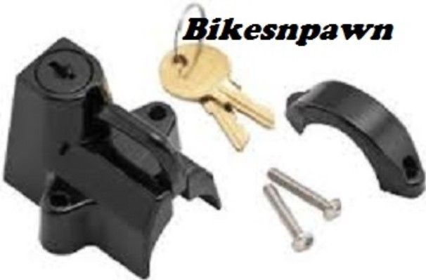 "Black  7/8"" to 1 1/4"" Motorcycle Helmet Lock - New Bikers Choice 492979"