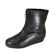 PEERAGE Rena Wide Width Leather Bootie with Zipper & Faux Fleece Lining - $44.95