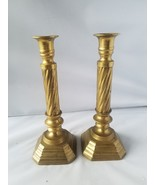 Vintage Brass Candlesticks Candle Holder Pair of 2 Antique Home Collectible - $29.68