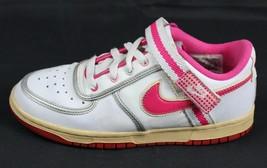 Nike Retro Mädchen Sneakers Leder Weiß Schnürsenkel Rosa 2008 Größe 5.5Y - $30.22