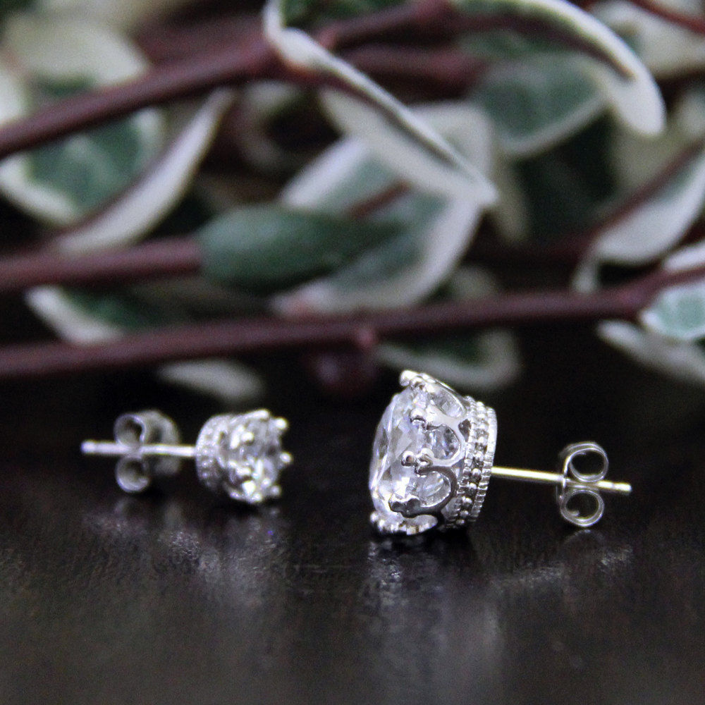 0.50 Carat Round Cut Diamond Stud Earrings 14K White Gold Finish