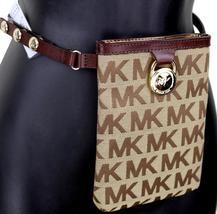 Michael Kors MK Women's Cut Out Leather Canvas Purse Belt Fanny Pack Bag 551501 image 7