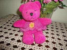 Russ Berrie CHENILLE Bear Neon Pink Retired Handmade - $88.88