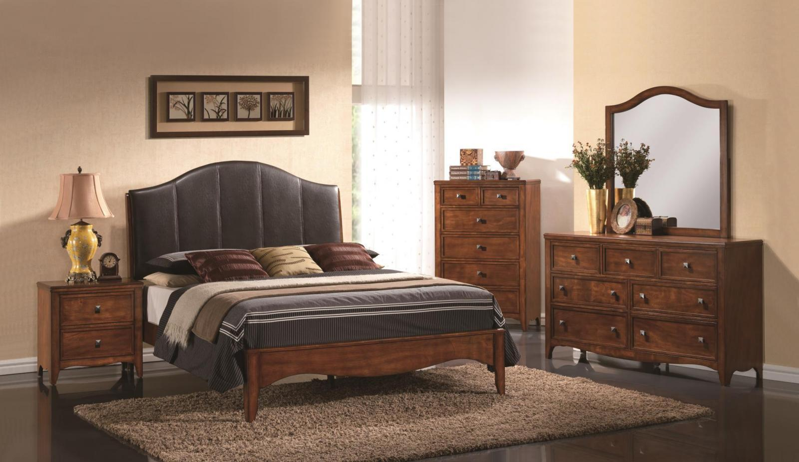 MYCO Furniture VN2900Q Vivon Cherry Black Leather Queen Bedroom Set 5Pcs w/Chest