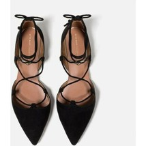 Zara Basic Collection Black Suede Pointed Toe D'orsay Flats EU 39 US 9 Ankle Tie - $25.48