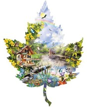1000 Pc. Seasonal Leaf Shaped Jigsaw Puzzles  Hobby Picture Family Time ... - $22.76