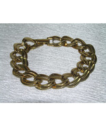 Vintage Flattened Double Open Oval Goldtone Link Bracelet – 7.5 x 5/8th'... - $9.49