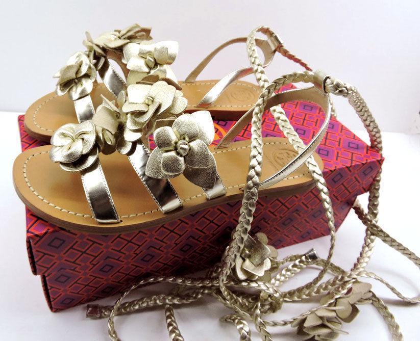 Tory Burch Blossom Gladiator Sandals Gold Floral Shoes Flats Flip Flop 6 Slide
