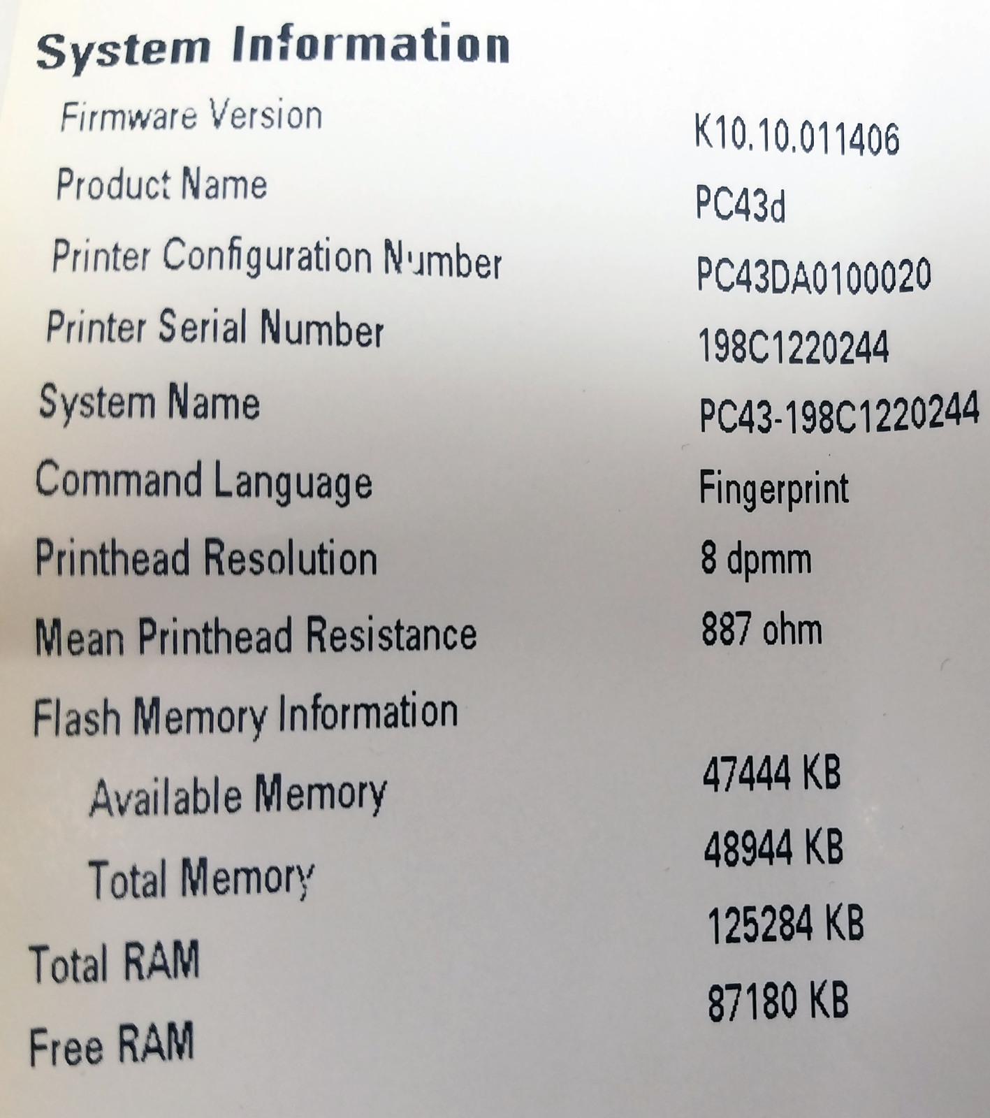 Intermec PC43d Desktop Direct Thermal Label Printer Bin: 2