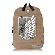 fashion leisure canvas Japan cartoon painting waterproof khaki backpack - $30.00