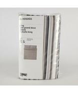 Ikea Randgras King Duvet Cover w/2 Pillowcases Bed Set White Gray Stripe... - $67.41