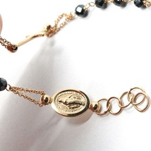 Bracelet Rosary White Rose Gold 18K, Black Spinel, Miraculous Medal - $345.95
