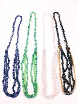 Genuine Gemstone Tripple Strand Long Necklace with Swarovski Like Crystals - $26.50