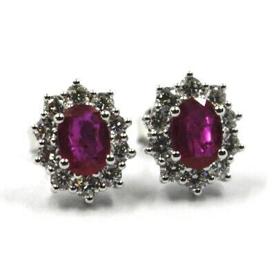 18K WHITE GOLD FLOWER EARRINGS OVAL RUBY 1.66 CARATS, DIAMONDS FRAME 1.00 CARATS