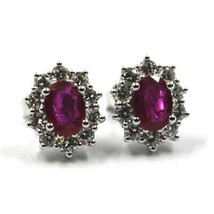 18K WHITE GOLD FLOWER EARRINGS OVAL RUBY 1.66 CARATS, DIAMONDS FRAME 1.00 CARATS image 1