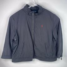 Polo Ralph Lauren Mens Sz 4XB Big Black Wind Breaker Coat Jacket w/Hood - $69.27